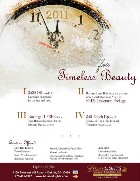 Laser Lights Cosmetic Laser Center January 2011 Specials Flyer