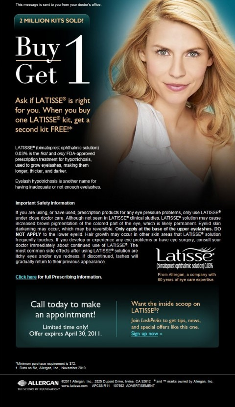 Latisse buy 1 get 1 free offer